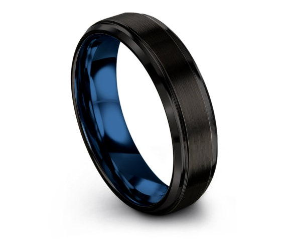Tungsten Carbide Men Ring,Black Tungsten Wedding Ring,Mens Blue Ring,Fathers Day Gift,Couple Infinity Ring,Comfort Band,Anniversary Gifts