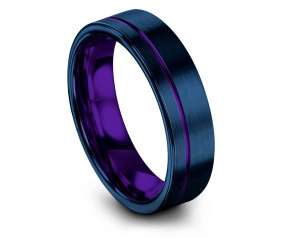 6mm 8mm, Offset Engraving Tungsten Ring, Blue & Purple, Mens Tungsten Wedding Ring, Tungsten Engagement Ring, Rings for Women, Unique Gifts