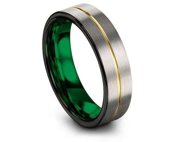 Tungsten Wedding Band Men,Silver Tungsten Ring Men,Black Green Ring Band,Gold Engraving Ring,Tungsten Carbide Ring 6mm,Gifts for Him