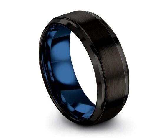 Tungsten Ring Mens Black Blue Wedding Band Tungsten Ring Brushed Carbide 8mm Tungsten Man Wedding Male Women Anniversary Matching
