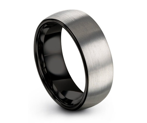 Tungsten Ring Mens Brushed Silver Black Wedding Band Tungsten Ring Tungsten Carbide 8mm Tungsten Ring Man Male Women Anniversary 2mm,4mm,6mm