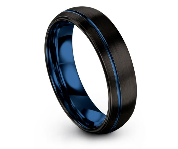 Tungsten Carbide Ring,Black Domed Tungsten Wedding,Offset Line Engraving Blue,Valentines Gift,For Her Him,Personalized Gifts,Free Shipping
