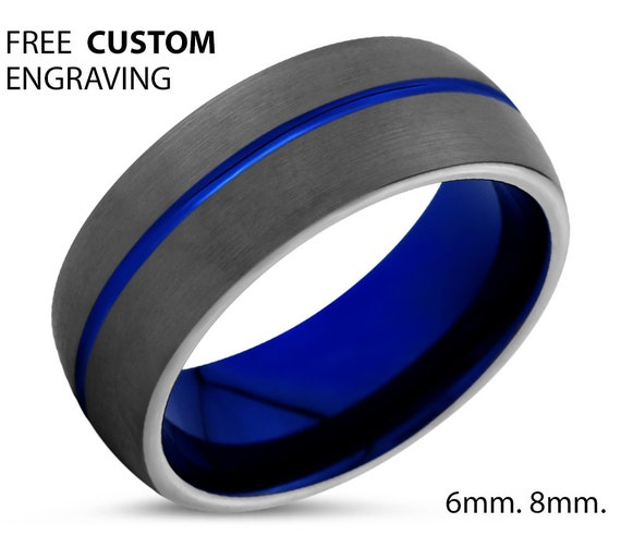 Thin Blue Line Mens Wedding Band, Handmade Personalized Custom Engraving Tungsten Carbide Engagement Jewelry Ring for Him Free Shipping