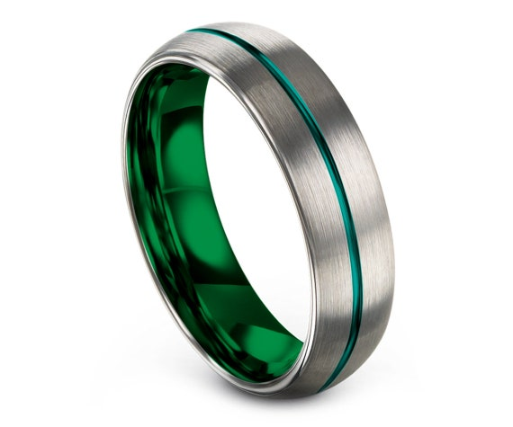 Matching Wedding Bands Silver, Green Tungsten Wedding Band, Center Engraving Teal, Minimalist Wedding Ring, Promise Ring, Rings for Women