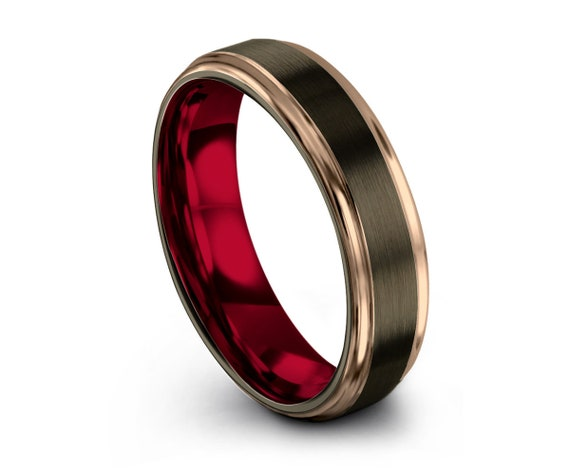 Red GUNMETAL Tungsten Ring, 18k Rose Gold, Red Wedding Band 8mm, Wedding Ring, Engagement Ring, Promise Ring, Rings for Women, Rings for Men