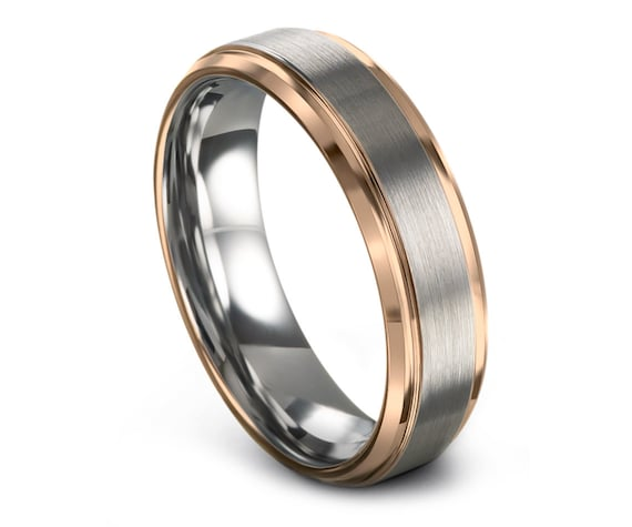 Unisex Wedding Band Tungsten Rose Gold Band, Silver Tungsten Wedding Band Men, Tungsten Wedding Ring, Promise Ring, Gifts for Women