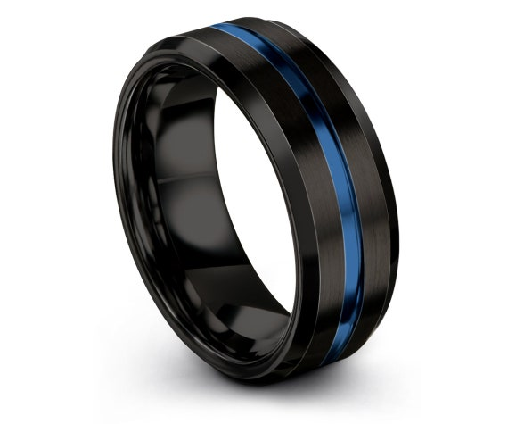 Personalized Gifts, Mens Wedding Band Black, Tungsten Carbide 8mm Ring, His and Hers Rings, Center Blue Engraving , Gift For Men,Dad's Gift