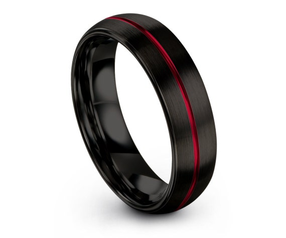Tungsten Ring Black, Tungsten Wedding Ring Set, Engagement Band, Center Line Engraving Red, Ring For Men, Comfort Fit, Matching Ring