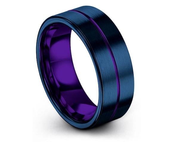 Matching Wedding Bands   Mens Flat Rings   Blue Tungsten Wedding Set   Center Engraved Ring Purple   Minimalist Wedding Ring   Promise Ring