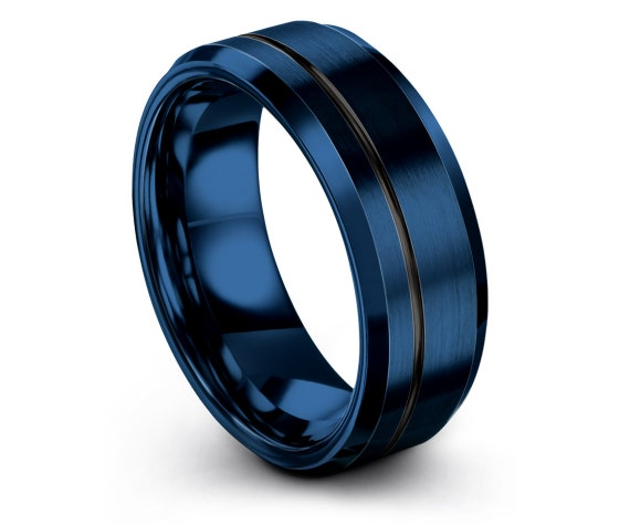 8MM Tungsten Band, Blue Brushed Tungsten With Offset Black Engraving Ring, Minimalist Ring, Gift For Her, Husband Gift, Gift Christmas