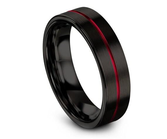 Brushed Tungsten Wedding Band Flat   Tungsten Ring Black Red   Wedding Band Tungsten   Rings For Men   Fathers Day Gift   Wedding Gifts