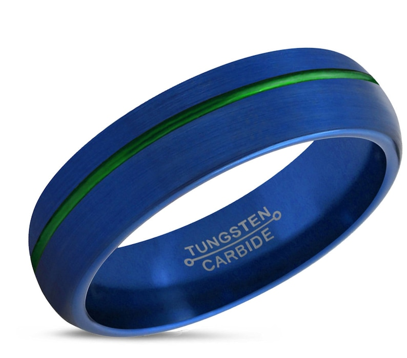 a7e395696200b3 Mens Wedding Band Blue Tungsten Ring 6mm Wedding Ring | Etsy