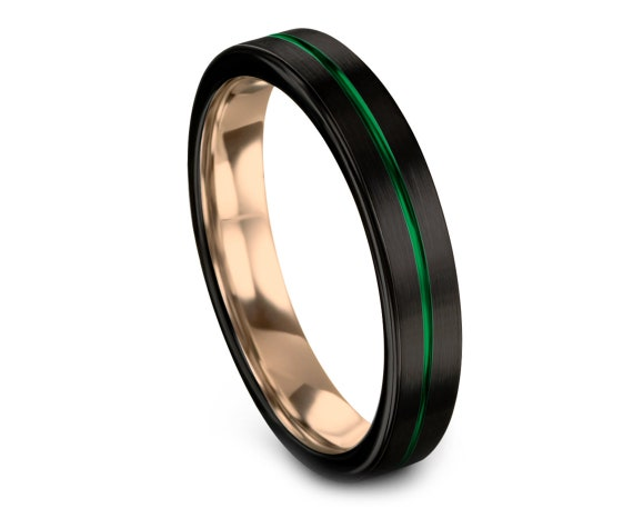 Flat Cut Black Tungsten Wedding Band Green,Tungsten Carbide Wedding Band 6mm,Black Wedding Band,Rose Gold Jewelry,Promise Ring,Size 4-15