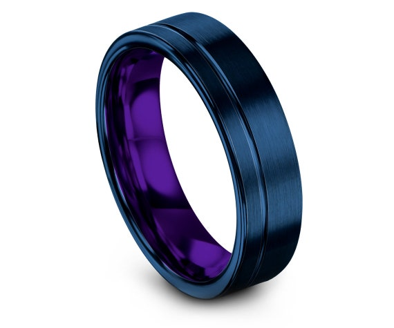 Mens Purple Rings, Flat Wedding Band, Blue Tungsten Carbide 6mm 8mm, Offset Engraved Ring, Infinity Jewelry Rings, Promise Ring, Custom Ring