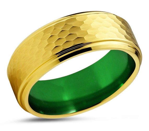 Mens Wedding Band Green, Tungsten Ring Yellow Gold 18K, Wedding Ring Red 8mm, Engagement Ring, Promise Ring, Rings for Men, Gold Ring