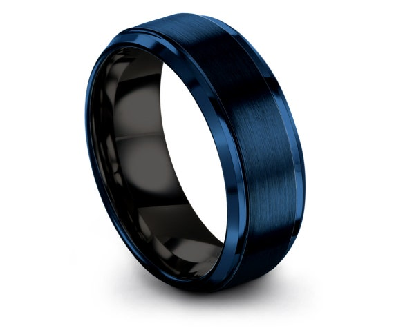 Brushed Blue Tungsten Wedding Ring,Black Tungsten Ring,His and Hers Wedding Band,December Gift,Anniversary Gifts,Personalised Jewelry