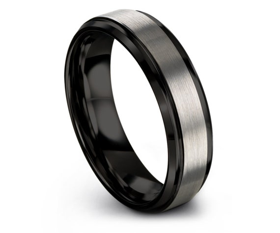 Unique Wedding Band - Silver Grey Tungsten Wedding Band - Beveled Tungsten Ring - Custom Tungsten Ring - Promise Ring For Her