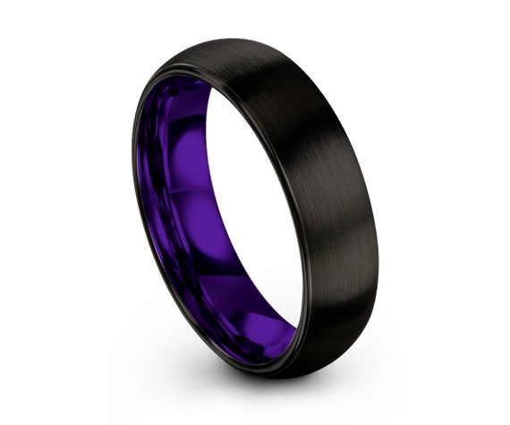 Tungsten Ring Black, Mens Wedding Band Purple 6mm, Wedding Ring, Engagement Ring, Promise Ring, Rings for Men, Rings for Women, Black Ring