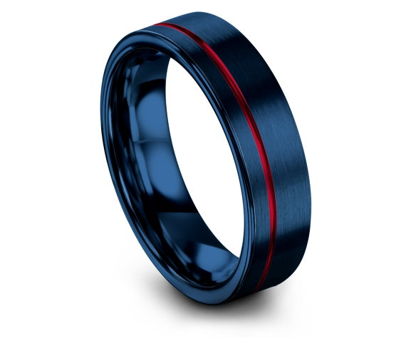 Red Tungsten Wedding Band | Blue Jewellery Ring | Rings for Men | Engraved Offset Line | Rings for Her | Gift For Anniversary | 6mm 8mm