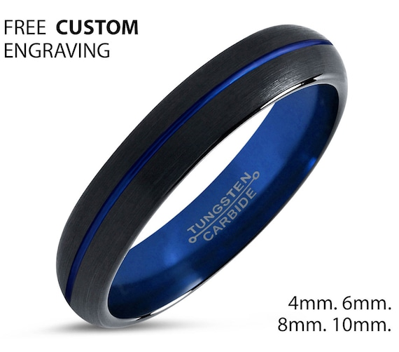 Minimalist Black & Blue Tungsten Promise Ring | Mens and Women Wedding Band | Rings for Men and Women