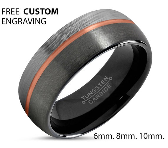 Tungsten Ring, Man Wedding Band, 18K Rose Gold, Promise Ring, Rings for Men, for Women, Mens, Male, Engagement, Personalized Gift, Black