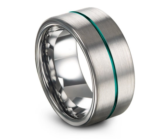 Flat Tungsten Engagement Ring, His and Hers, Mens Handmade Silver Ring, Teal Thin Line Engraving Rings, Mothers Day Gift, Mens Promise Ring