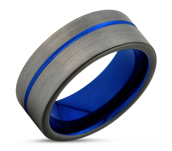 Blue and Silver Tungsten Wedding Band, Mens 6mm Carbide Ring, Free Engraving + Shipping, Scratch Resistant