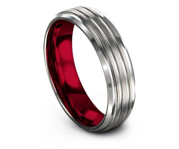 Couple Matching Ring, Silver Brushed Finish Ring, Double Line Engraving, Red Inside Ring, Personalized Gift, His and Hers, Best Husband Ever