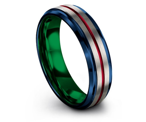 Green Tungsten Ring | Step Edge with Beveled Rings | His and Hers | Blue Carbide Ring | Red Line Engraving | Silver Engagement Ring | Gifts