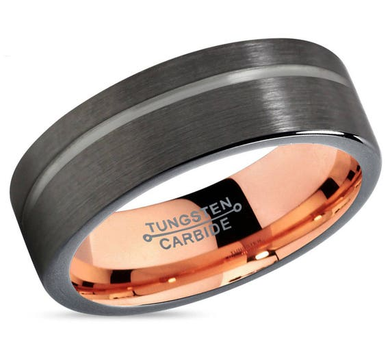 GUNMETAL Black Tungsten Ring Rose Gold Wedding Band Ring Tungsten Carbide 4mm 6mm 8mm 10mm 12mm 18K Tungsten Man Wedding Band Male Women