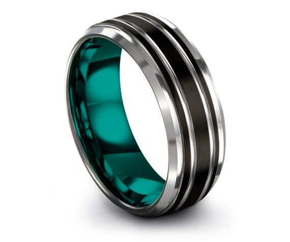 Engraved Engagement Rings,Black & Teal,Mens Wedding Band Tungsten,Beveled Silver Edge With Double Line,Promise Ring,Christmas Gifts For Men