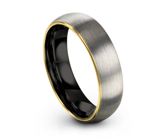 Brushed Silver Black Tungsten Ring Yellow Gold Wedding Band Ring Tungsten Carbide 5mm 18K Tungsten Ring Man Male Women Anniversary Matching