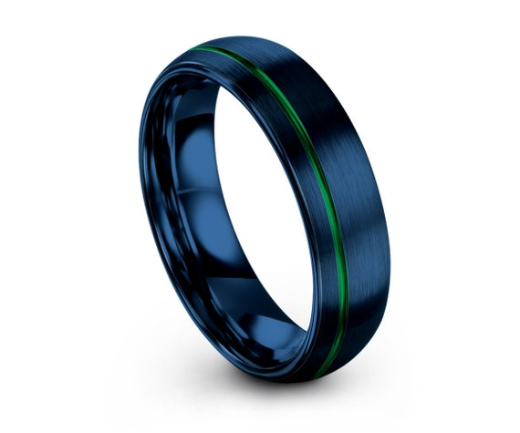Mens Wedding Band Blue, Tungsten Ring 6mm, Wedding Ring, Engagement Ring, Promise Ring, Rings for Men, Rings for Women, Personalized Ring