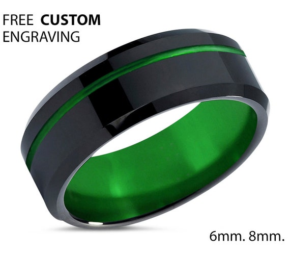 Black and Green Mens Ring - Wedding Band - Unique Promise Ring - Unisex Fashion Accessory - Free Personalized Custom Engraving
