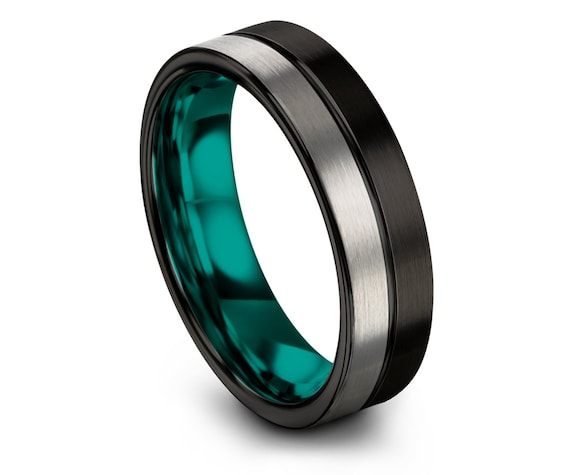 Teal Wedding Band Mens,Silver Tungsten Ring for Womens,His and Hers,Thin Black Line Center Engraved Jewelry,Anniversary Gift,Free Shipping