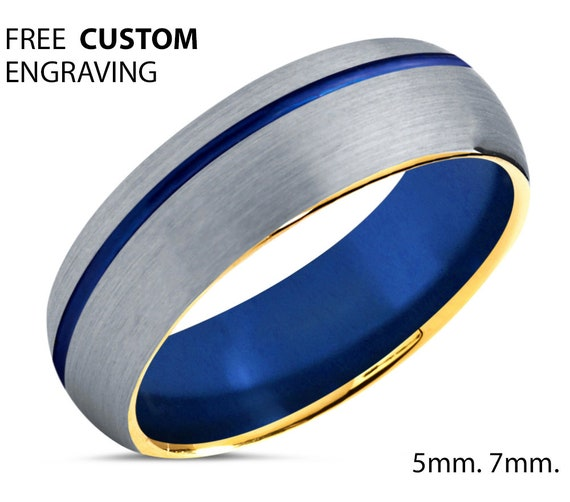Blue Offset Line Unisex Wedding Band with Gold Edges, Silver Wedding Ring, Tungsten Ring 6mm, Personalized, Engagement Ring, Promise Ring