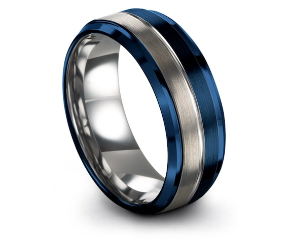 Personalized Ring Blue,Beveled Band Rings,Wedding Tungsten Carbide Ring Blue,Tungsten Band Engraving Silver Ring,Engagement Ring,All Size
