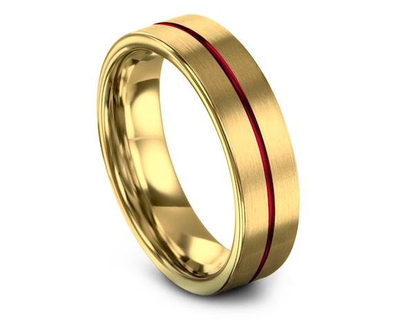 6mm 8mm Flat Tungsten Wedding Band, 18K Gold Tungsten Bands, Mens Wedding Band, Gold Tungsten Engagement Ring, Custom Rings, Free Engraving