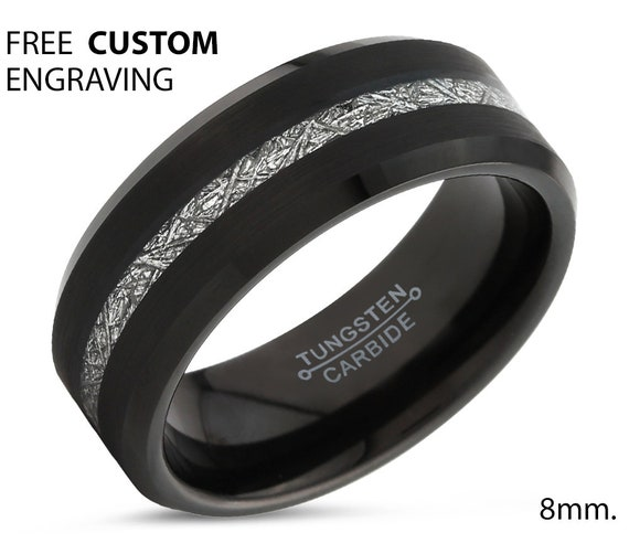 Black Meteorite Beveled Tungsten Ring for Men & Women | Unique Personalized Wedding Band | Promise Engagement Gift