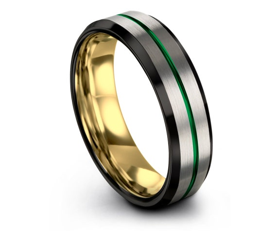 Tungsten Ring Silver, Tungsten Ring Men, Half Black Silver, Brushed Tungsten Ring, Yellow Gold Wedding Band, Promise Ring, Gift for Him