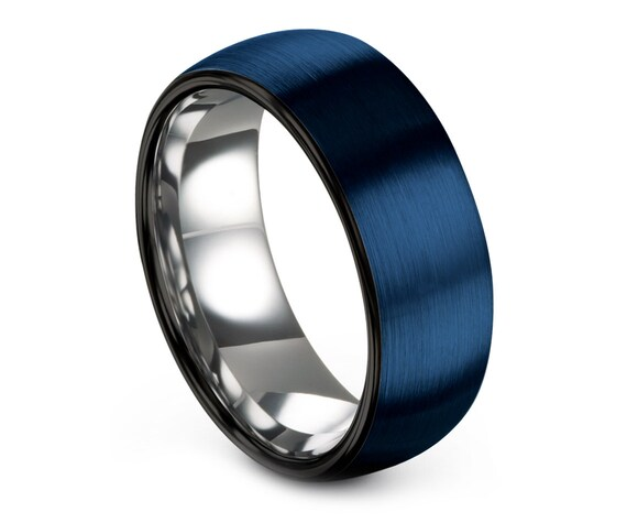 Blue Tungsten Ring Domed, Wedding Gifts, Black Tungsten Carbide Wedding Band, Silver Engagement, Gift For Wife, Matching Ring, 6mm Ring