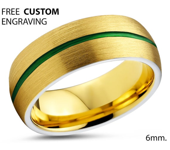 Mens Wedding Band Green, Tungsten Ring Yellow Gold 18K, Wedding Ring Red 6mm, Engagement Ring, Promise Ring, Rings for Men, Gold Ring