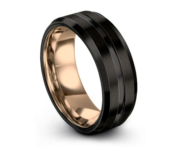 Mens Wedding Band, Rose Gold Wedding Ring, Tungsten Ring 8mm 18K, Engagement Ring, Promise Ring, Rings for Men, Rings for Women, Gold Ring