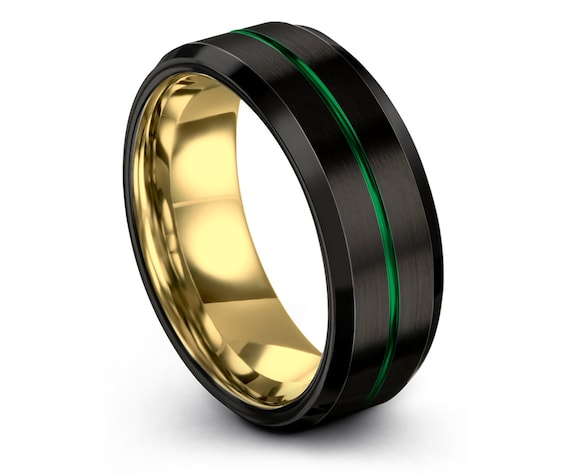 Men's Tungsten Wedding Band, Yellow Gold Wedding Band, Black Green Tungsten Ring 8mm, Center Line Engraving, His and Hers, Gifts for Him