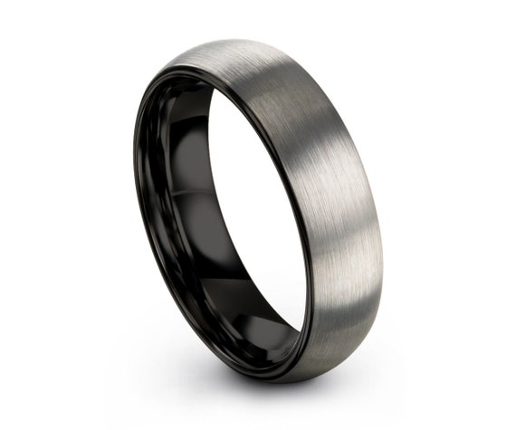 Tungsten Ring Brushed Silver, Mens Wedding Band Black 6mm, Engagement Ring, Promise Ring, Rings for Men, Rings for Women, Silver Ring