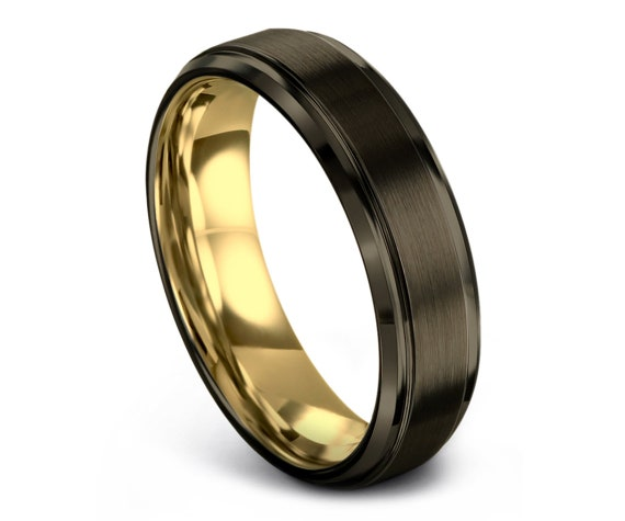 Brushed Tungsten Wedding Band,Rings For Men Tungsten,6mm Step Edge Wedding Band,18K Yellow Gold,Handmade Tungsten Ring,Free Shipping