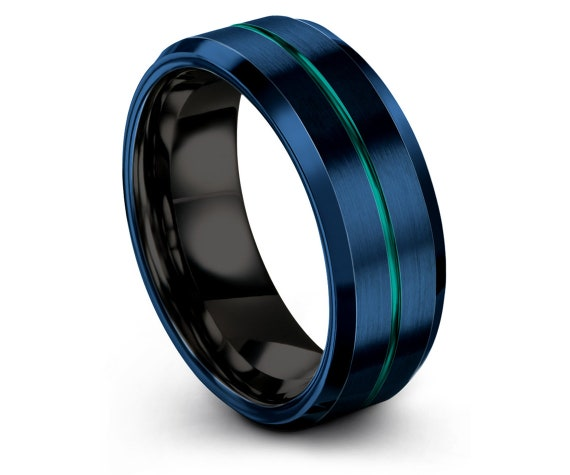 Men's Wedding Band Blue, Black Tungsten Ring, Tungsten Carbide Wedding Band 8mm, Thin Line Engraving Teal Ring, Promise Ring, His and Hers