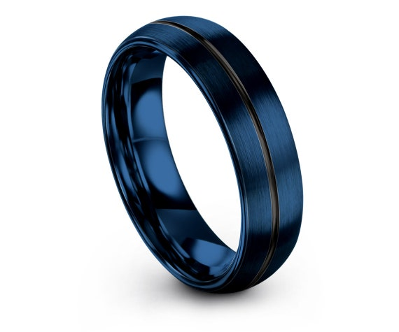 Christmas Gift Idea, Custom Rings, His and Hers Wedding Bands, Tungsten Ring Blue, Thin Line Black Engraving, Womens Gifts, 4mm 6mm 8mm 10mm