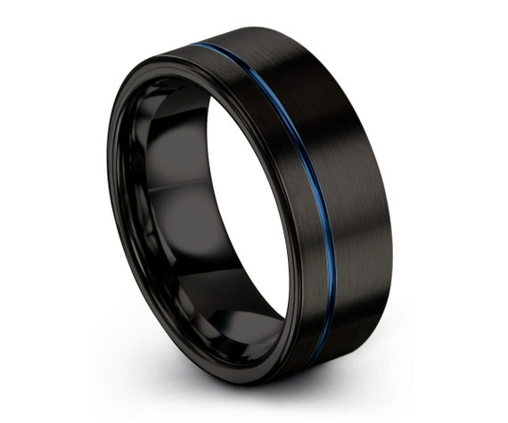 Mens Wedding Band Black, Tungsten Ring Blue 6mm, Wedding Ring, Engagement Ring, Promise Ring, Rings for Men, Rings for Women, Simple Ring
