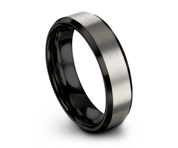 Mens Wedding Band Black, Tungsten Ring Brushed Silver 6mm, Wedding Ring, Engagement Ring, Promise Ring, Rings for Men, Rings for Women